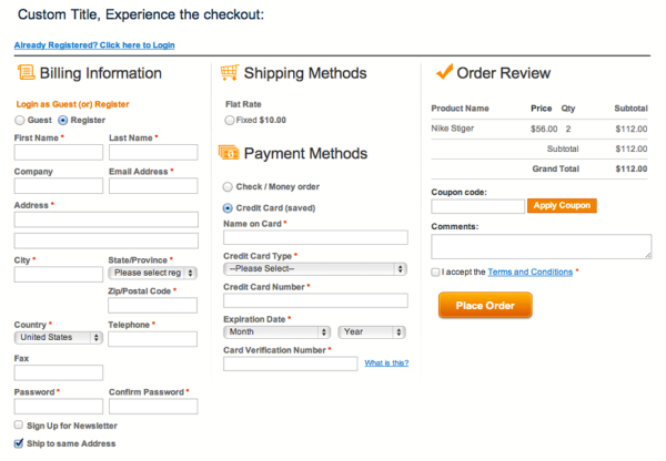 Image result for Magento One-Page Checkout