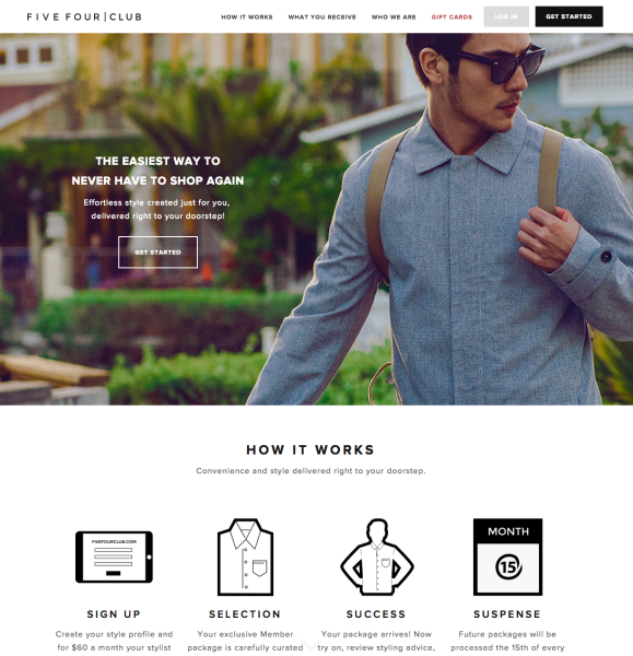 Five Four Club is a monthly men's clothing subscription service. You take a brief survey when you sign up (sizes and style preferences), and then each month .